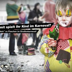 Gefahr durch Glasscherben: Plakatidee von J. S. Kopp und R. Knopp